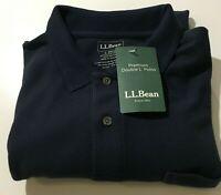 L.L. Bean Polo Shirt Men's L Short Sleeve Pocket Slits  Stretch Cotton Navy Blue