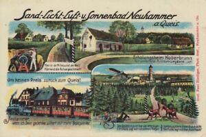 Ansichtskarte Schlesien  Neuhammer am Queis  Eisenbahn  Erholungsheim  etc. 1917
