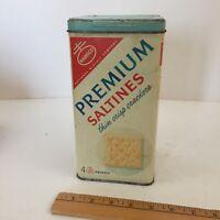 Vintage 60s era Nabisco Premium Saltine Crackers Tin Spanish - Midcentury Tin