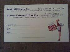 Rare 1910s Postcard Wall Millinery Co El Rita Hat Box Maid Kansas City Missouri