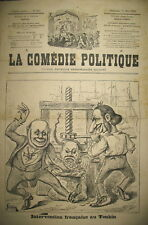 TONKIN INTERVENTION FRANCAISE TORTURE CARCAN JOURNAL LA COMEDIE POLITIQUE 1883