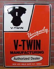 Vintage V-TWIN MOTORCYCLE ENGINE DEALER Embossed Sign Gas Oil Bike Advertising