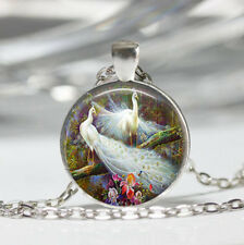 Peacock photo Tibet silver Dome Glass Cabochon Necklace chain Pendant #374