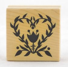 Folk Flower Wood Mounted Rubber Stamp Inkadinkado NEW tulip friendship love art