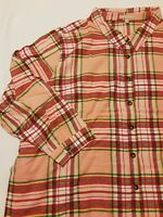 Woman Within Plus Size Women's Red Pink Green Flannel Shirt Size  3x, 4x, 5x