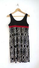 Carole Little Dress 10 Black Red Stretch Knit Sleeveless Print Empire Waist
