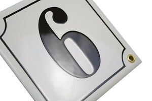 Porcelain address plaque 6x6″ customisable handcrafted enamel house number sign
