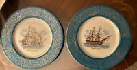2 Beautiful British Plates Commemorating Battle of Trafalgar + H.M.S. Victory