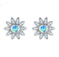 Blue Fire Opal Charm Stud Earring New 1 Pair Woman Fashion 925 Silver Flower