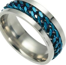 SIZE:9  ~ BLUE_CHAIN ~  SPINNER  ~ S/STEEL  ~   RING  -- (GREAT_CHRISTMAS_GIFT)