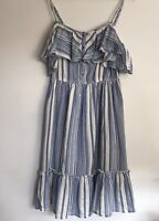 TU Woman Size 10 Blue Cream Striped Ruffle Trim Boho Gypsy Festival Sundress