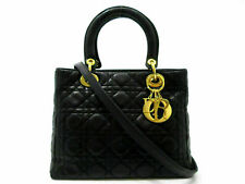 Authentic Christian Dior Cannage Lady Dior 2Way Hand Bag Lambskin Black 63146