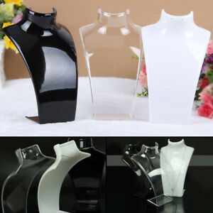 2Pcs Acrylic Jewellery Stand Earrings Necklace Retail Shop Display Busts Holder
