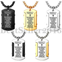 Men Women Cross Bible Verse Prayer Dog Tag Pendant Stainless Steel Necklace 22""