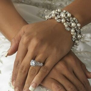 Bridal Wedding Luxury Adjustable White Pearl Bracelet Jewellery Elasticated