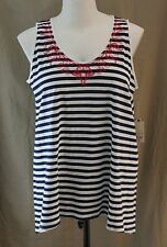 St. John��s Bay Woman, 1X, American Navy Stripe Sleeveless Top, New with Tags