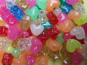 120 x Mixed Colour Pony Beads Stars Hearts Rounds WIDE HOLE Glitter Glow in Dark