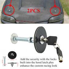 1Pair Black Car Racing Mount Bonnet Carbon Fiber Hood Pins Latch Key Locking Kit