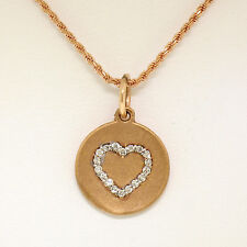 "NEW 14K Rose Gold 0.13ctw Diamond Open Heart Disc Pendant w/ 16"" Rope Chain"