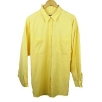Eddie Bauer Women's XXL 2XL Button Down Long Sleeve Waffle Cotton Shirt Yellow