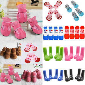 4PCS/Set Dog Boots Snow Boots Protective Puppy Pet Shoes Anti Slip Socks Outdoor