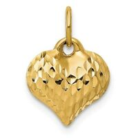 14K YELLOW GOLD SMALL DIAMOND-CUT 3-D PUFFED PUFF HEART PENDANT CHARM  0.55 INCH