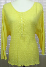 DENIM & CO. Size 2X Yellow Round Neck Puckered Top New Without Tags