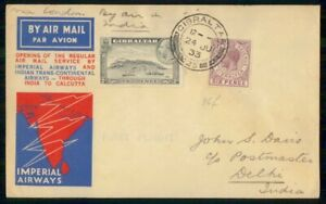 Mayfairstamps Gibraltar Imperial Airways First Flight to India Cover wwi99065