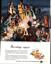1947 US Beer Brewers #6 in Series Picnic on California Beach Vintage Print Ad604