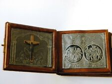 ANTIQUE STERLING SILVER PLAQUES STATION OF THE CROSS BOOK SHAPE LEATHER COVER