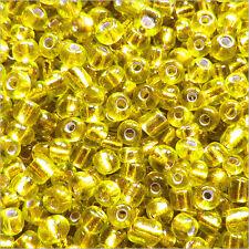 Perles de Rocailles en verre 2mm Trou Argenté Jaune 20g (12/0)