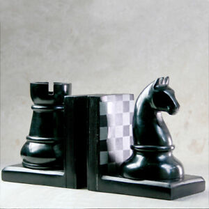 Chess Pieces Bookends with Chessboard Design Rook & Knight Soapstone
