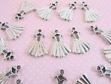 20pc Dress/Wedding Gown Silver Plated Charm/Bead/Craft/Girl/Ballet/Princess K114