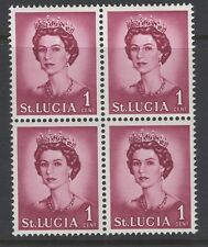 """ST.LUCIA SG197v1 1964 1c DEFINITIVE """"WHITE FLAW AT FOOT OF L"""" MNH IN BLOCK OF 4"""