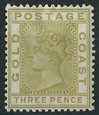 q204) Gold Coast. 1884/91. MM. SG 15 3d Olive-yellow. Royalty. c£22+