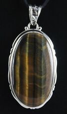 Tiger's Eye Sterling Silver .925 Natural Handmade Custom Pendant Bail