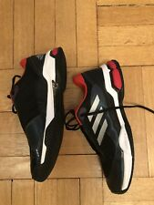 Adidas Barricade Court Mens Leather Athletic Tennis Shoes Size 8.5 Black Red