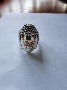 Chunky Solid Silver Buddha Head Ring
