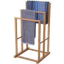 Handtuchhalter HWC-B18, Badezimmer Handtuchständer freistehend Bambus 82x42x42cm
