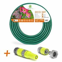 "1/2"" 50M REINFORCED GARDEN HOSE PIPE SPRAY WATERING NOZZLE FITTINGS SET INCLUDED"