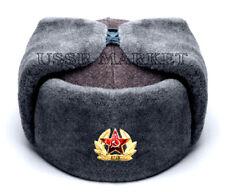 RUSSIAN SOVIET 100% AUTHENTIC RED ARMY WINTER USHANKA FUR HAT SKI TRAPPER BADGE