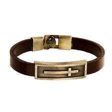 Vintage Bible Cross Brown Cowhide Leather Bangle Bracelet
