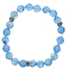 Aquamarine Crystal Stretch Bracelet, Made With Swarovski, Genuine Crystals,blue