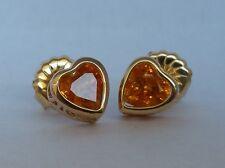 Spessartite Garnet Heart Shape bezel earrings with filigree 14K Yellow Gold