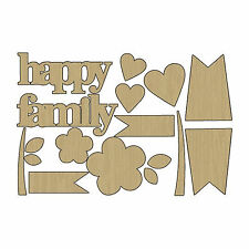 AdornIt FAMILY PATCHWORK (17) Laser-Cut WOOD SHAPES scrapbooking HAPPY