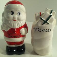 VINTAGE SANTA CLAUS AND BAG OF PRESENTS/PACKAGES SALT & PEPPER SHAKERS