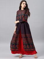 Pakistani Kurti Cotton Anarkali Kurta Floral Navy Blue Long Sleeves Dress