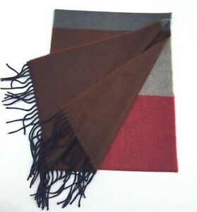 NEW 100% CASHMERE SCARF Scotland Soft Warm Wool Wrap Color Brown / berry / gray