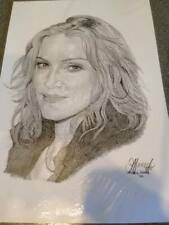 Madonna black & white pencil drawing / artwork ,debbie jones 2002