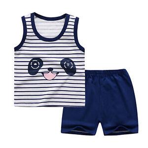 Kids Summer Clothes Boys Girls Cartoon Tops Vest Tank Shorts Toddler Sets Wear